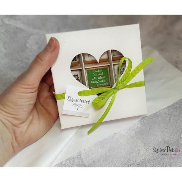 9 darabos fényképes csoki szívablakos dobozban