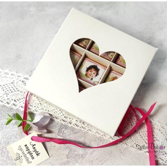 Anyák napi szíves 9 darabos fényképes csoki fehér ablakos dobozban