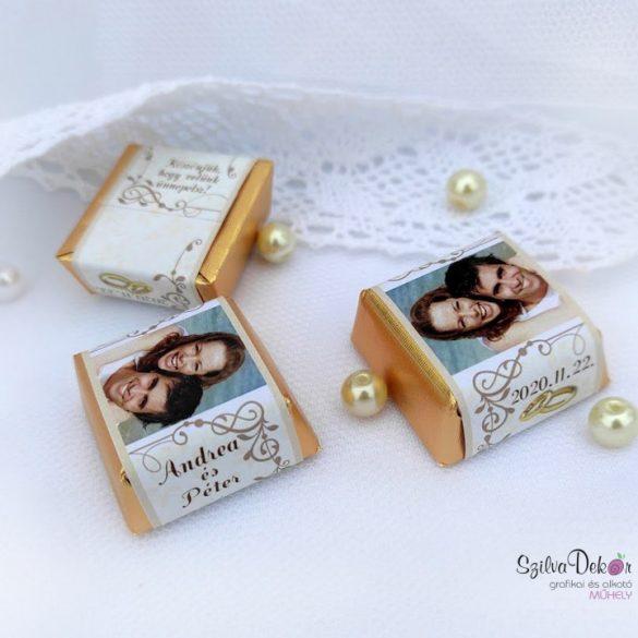 Indamintás bézs kockacsoki- esküvői dekoráció
