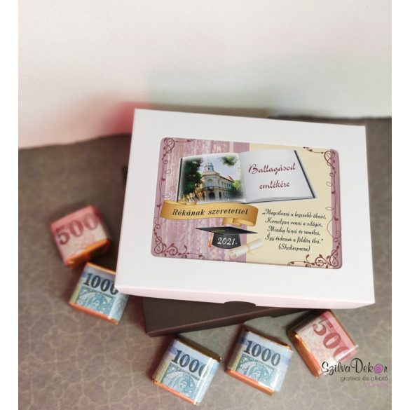 12 darabos pénzcsomagolású csoki díszdobozban