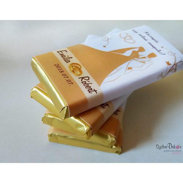 Sziluettes kistáblás csoki dekoráció esküvőre köszönetajándéknak