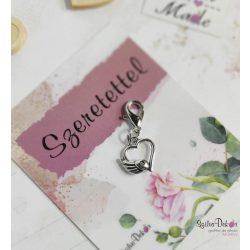 Szárnyas szív fém medál mágneses ajándékkártyával