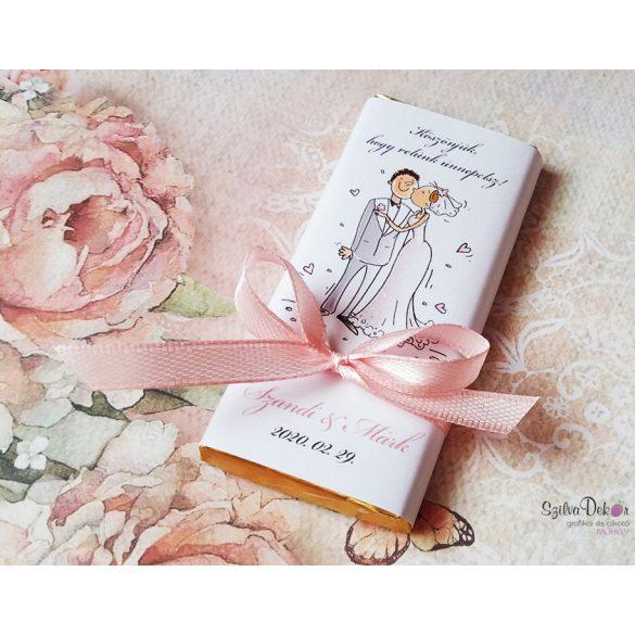Rajzolt páros kistáblás csoki esküvői köszönetajándék