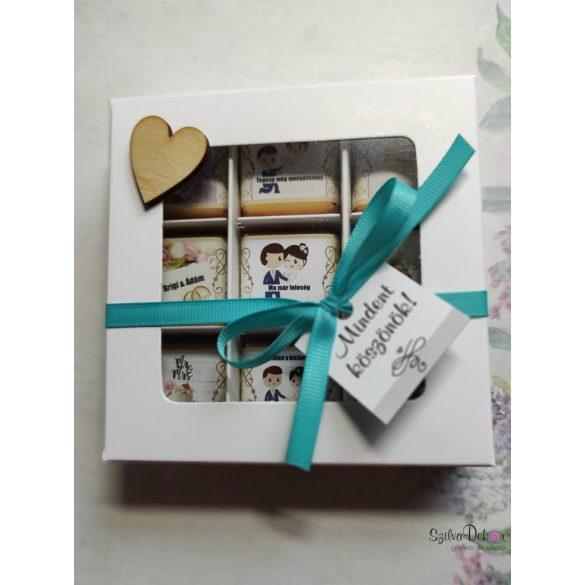 Esküvői szülőköszöntő ajándék-  9 darab egyedi papíros csoki díszdobozban