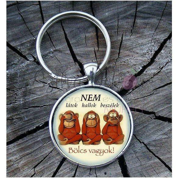 """""""Bölcs majmok"""" üveglencsés kulcstartó"""
