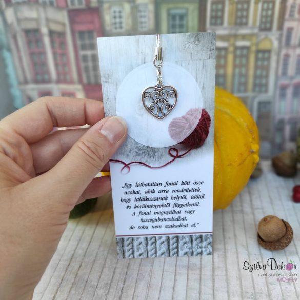 ÖSSZETARTOZÁS- Idézetes könyvjelző + fém szív medál