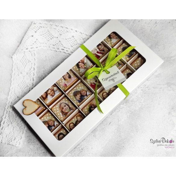 18 darabos fényképes csoki ablakos dobozban