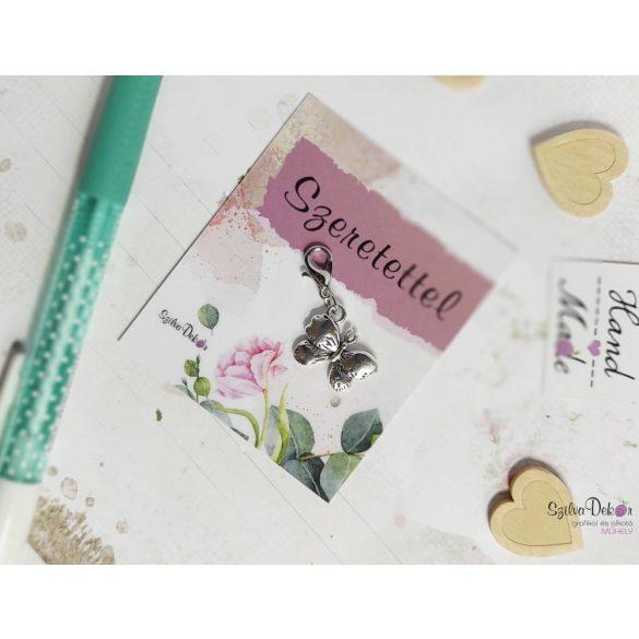 Pillangó fém medál mágneses ajándékkártyával