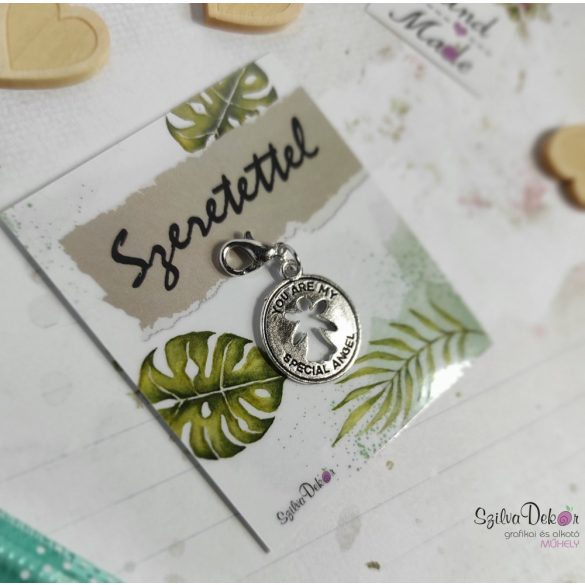 Angyalos fém medál mágneses ajándékkártyával