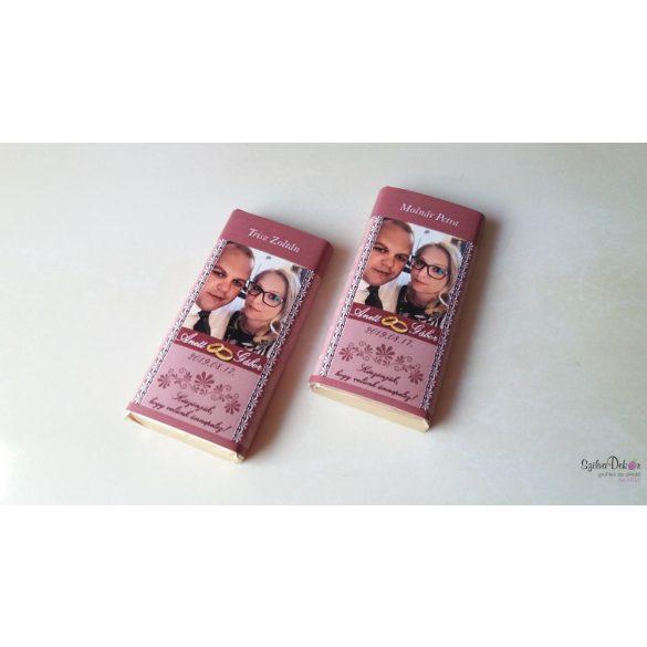 SAJÁT MINTÁVAL kérhető kistáblás csoki dekoráció köszönetajándéknak