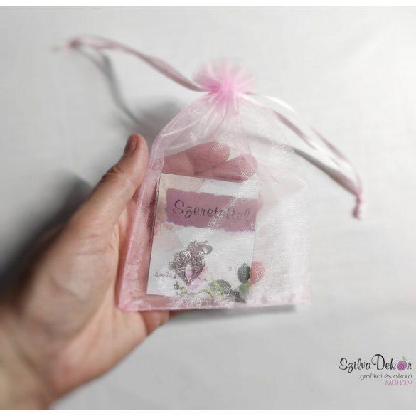 Virág fém medál mágneses ajándékkártyával