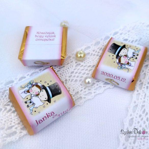 Cilinderes vőlegény köszönetajándék kockacsoki- esküvői dekoráció