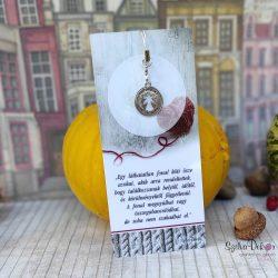 ÖSSZETARTOZÁS- Idézetes könyvjelző + fém angyalos medál