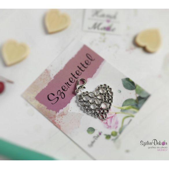 Szív körökből fém medál mágneses ajándékkártyával